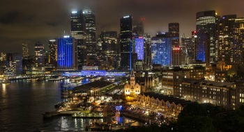 City view from the bridge, Vivid Sydney 2014. Picture James Horan Image courtesy of Destination NSW.